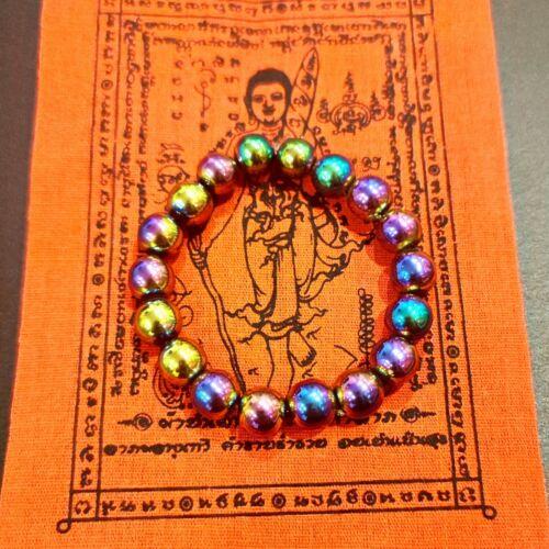 Thai Buddhist  Amulet Bracelet Leklai 7Colors Beads Rainbow Color Talisman Power