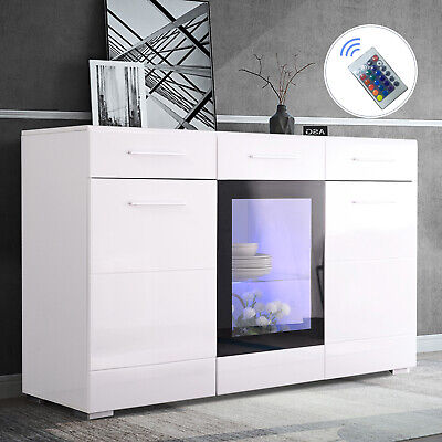 LED Kitchen Storage Buffet Cabinet Sideboard Cupboard Console Display Table