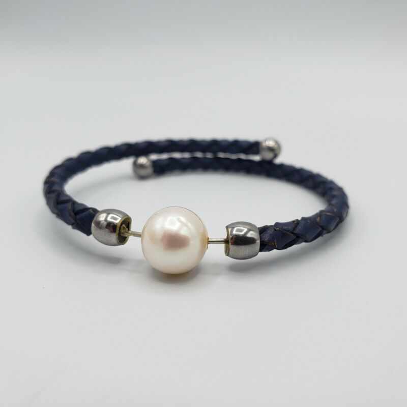 White Cultured Freshwater Pearl Imitation Blue Leather Silver Tone Bracelet