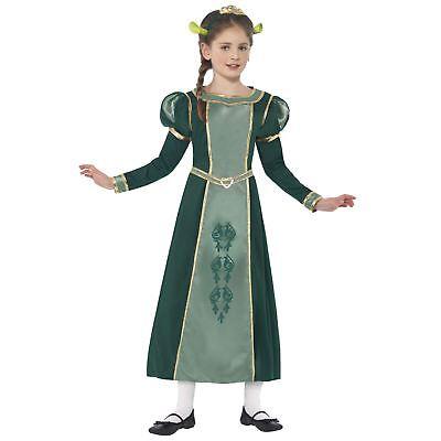 Official Shrek Girls Princess Fiona Fairytale Fancy Dress Gown Ogre Ears - Fiona Girl Kostüm