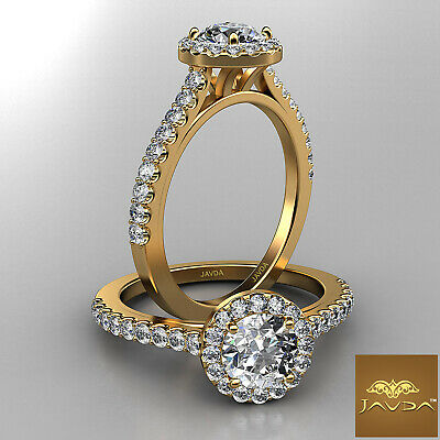 French Pave Set Halo Round Diamond Engagement Anniversary Ring GIA E VS1 1.22 Ct
