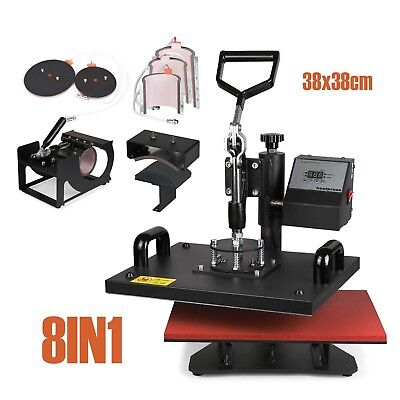 8IN1 Heat Press maschine T-shirt 38x38cm Digital Hitze-Pressen Timer Control