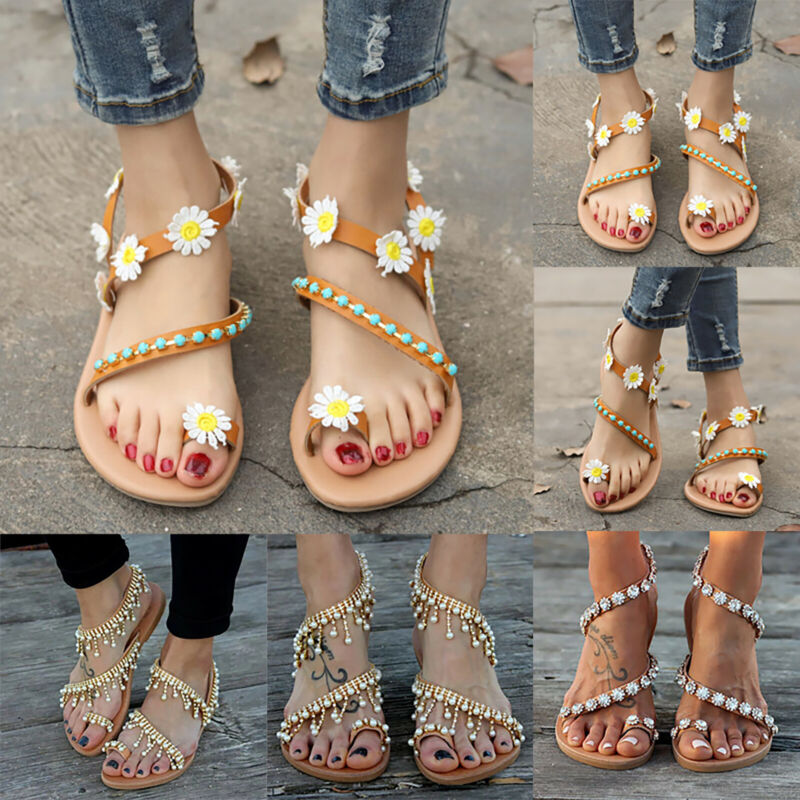 Ladies Womens Bohemian Sandals Summer Holiday Flat Beach Fli