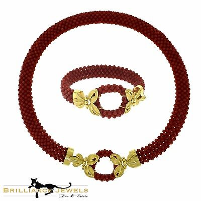 - Gorgeous Natural Red Coral Beaded and Yellow Gold Floral Two Piece Set