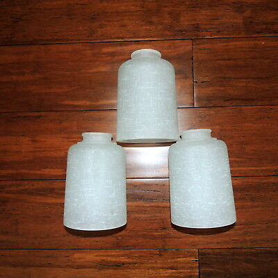Lot of 3 Frosted Cross Hatch Contemporary Modern Glass Pendant Light Shade NEW