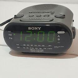 Sony Dream Machine AM/FM Dual Alarm Black Clock Radio Model ICF-C318 Works