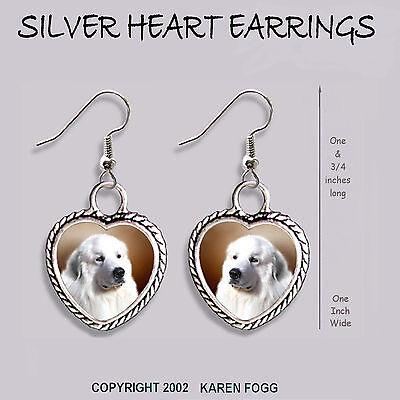 GREAT PYRENEES DOG - HEART EARRINGS Ornate Tibetan Silver
