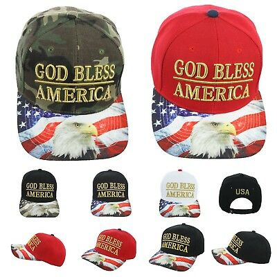 US Flag Baseball Cap GOD BLESS AMERICA Hat Eagle USA Snapback Hats Fashion Caps ()