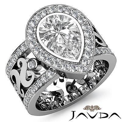 Anitque Designer Pear Shape Diamond Engagement Ring GIA H SI1 Platinum 2.3 ct