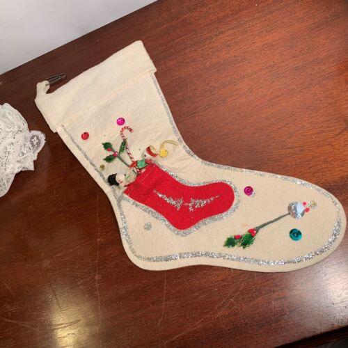 """Vintage White Felt Christmas Stocking with Spun Cotton Couple 15"""""""