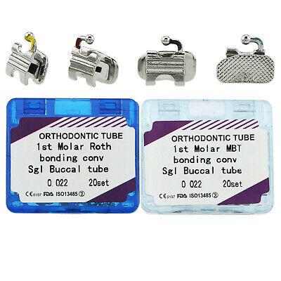 80pcs Dental Orthodontic Convertible Buccal Tubes 1st 2nd Molar Roth Mbt 022 Sgl