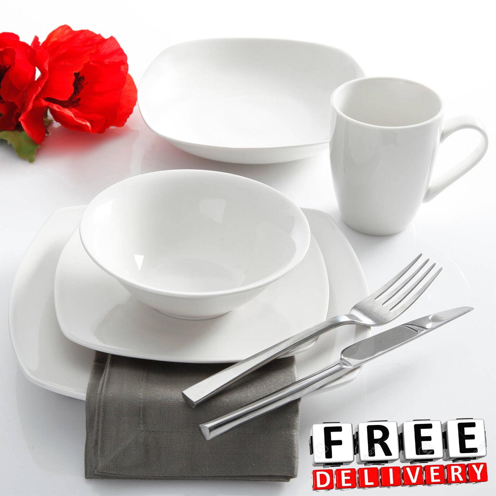 Porcelain Dinnerware Set For 6 30Pc White Round Kitchen Plat