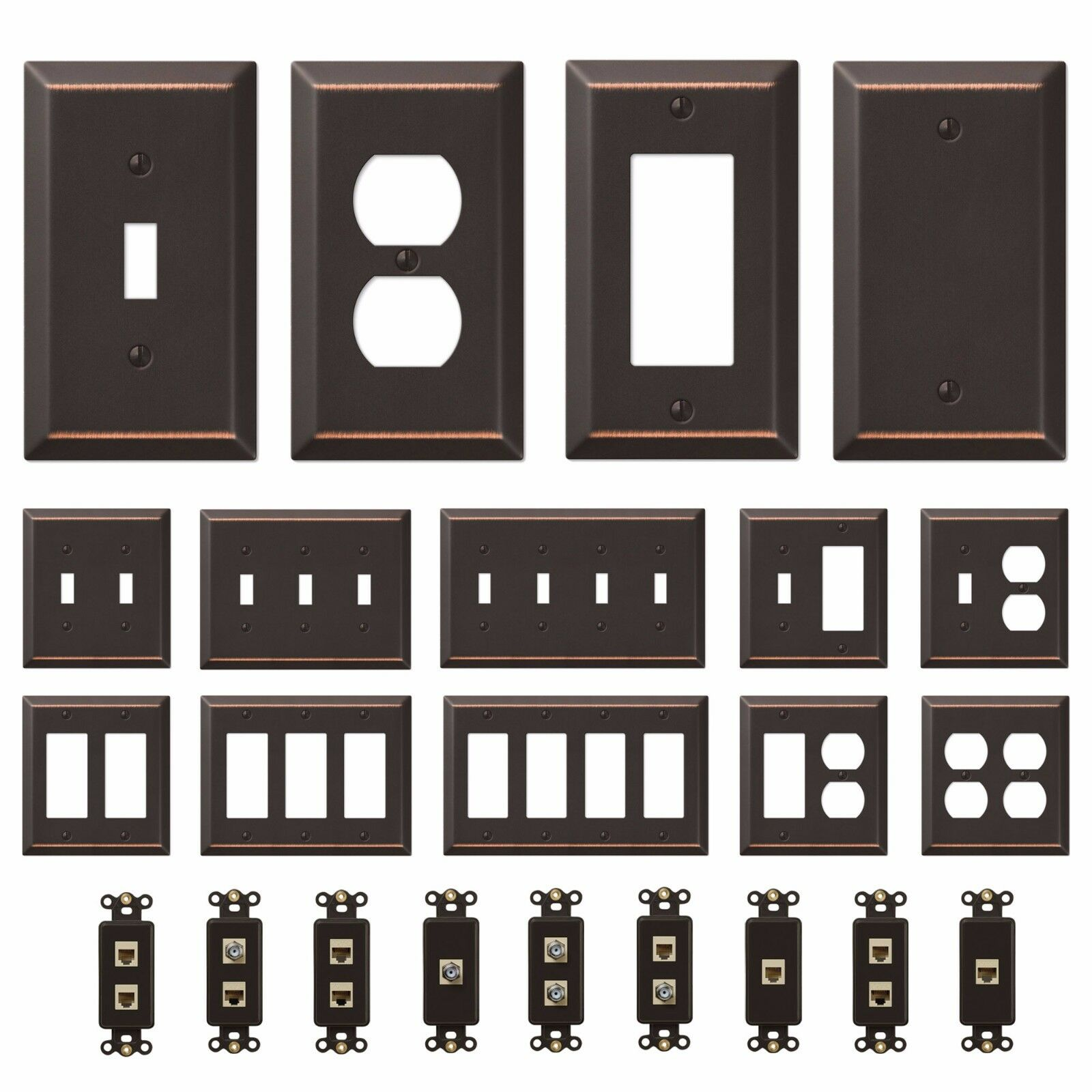 Купить Oil Rubbed Bronze Wall Switch Plate Outlet Cover Toggle Rocker GFI Duplex Outlet