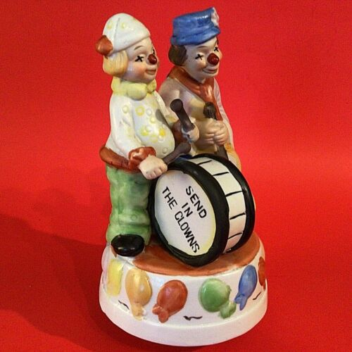 """MUSICAL CLOWN FIGURINE PLAYS SEND IN THE CLOWNS 8 1/2""""H PLAYING DRUM & GUITAR"""
