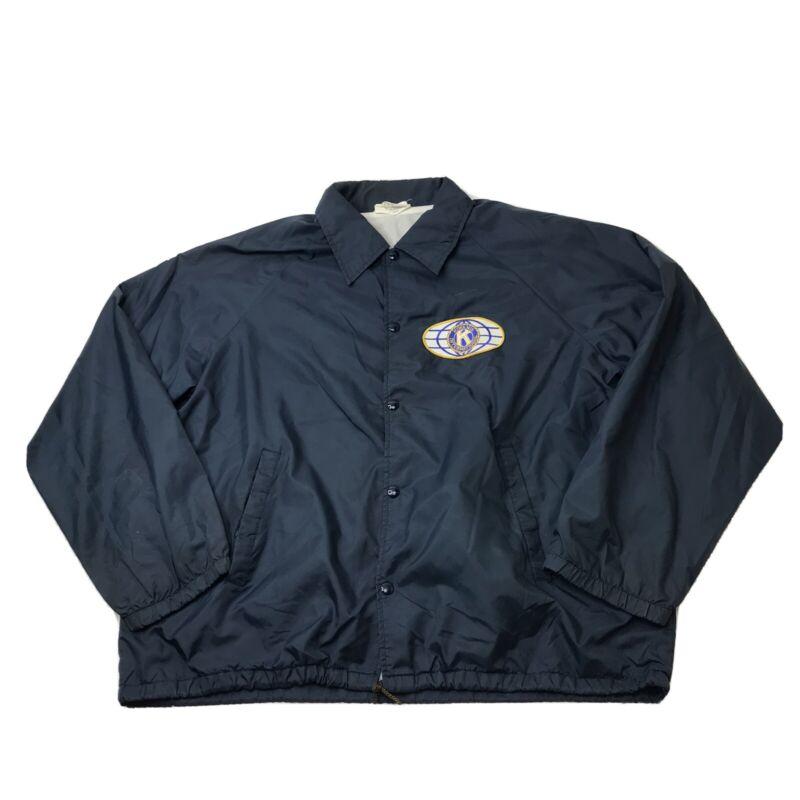 Vintage Kiwanis International Jacket K Brand Products Blue Snap Button Coat 80s