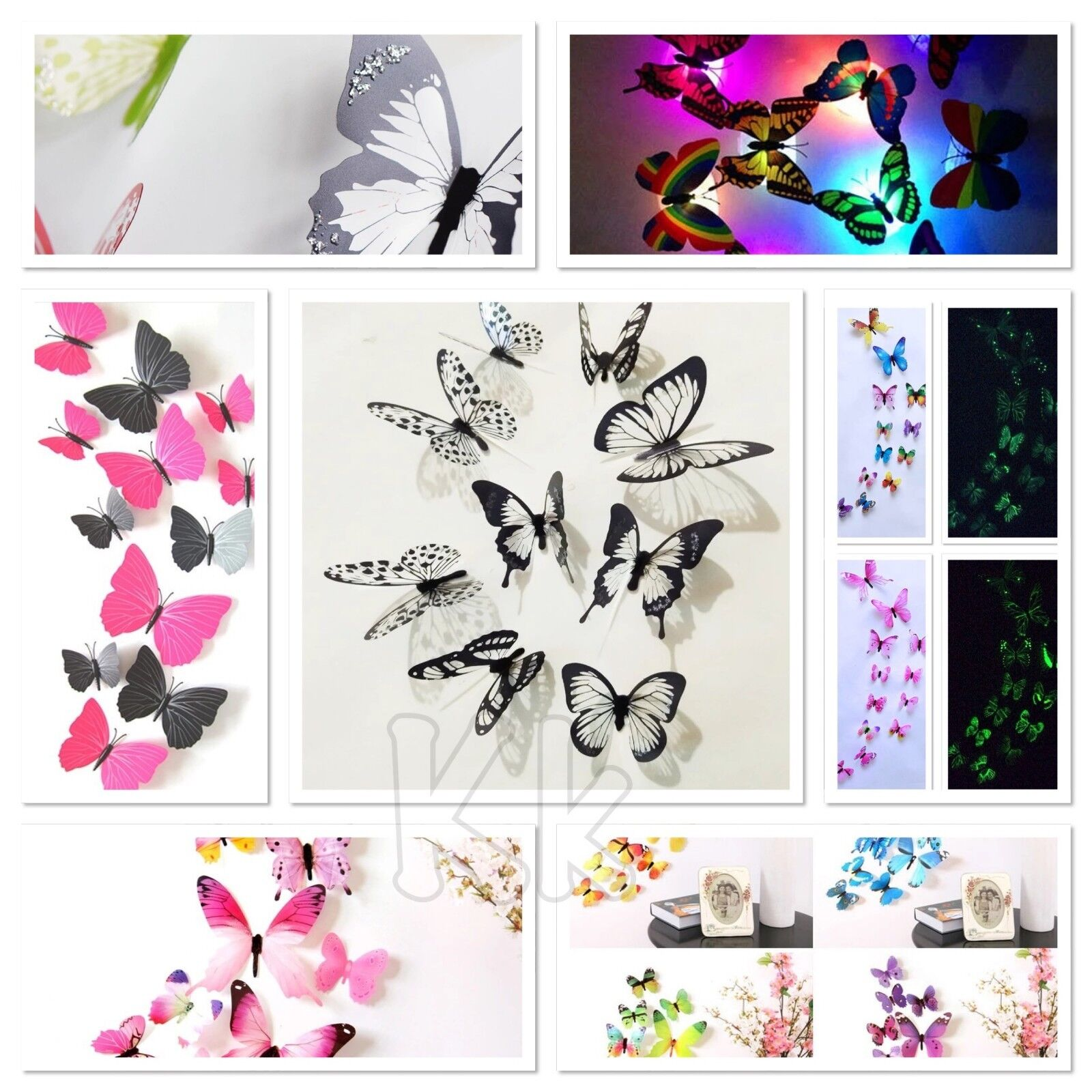 Home Decoration - 18/12 led 3D  Butterfly Art Decal Home Decor PVC Butterflies Wall Mural Stickers