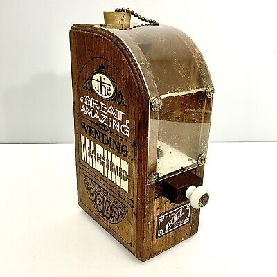 Vending Machine (wooden): Tobacco Leaves- Knob Pull Dispenser Drawer-Antique