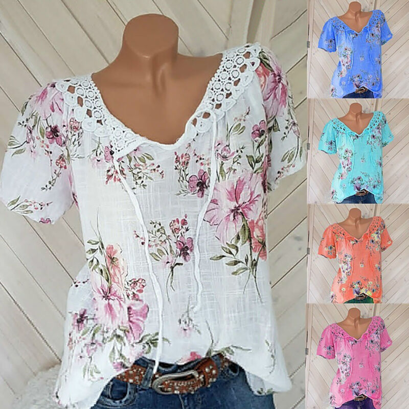 Damen Blumen Kurzarm T-Shirt Bluse V-Ausschnitt Freizeit Sommer Tops Oberteil 48