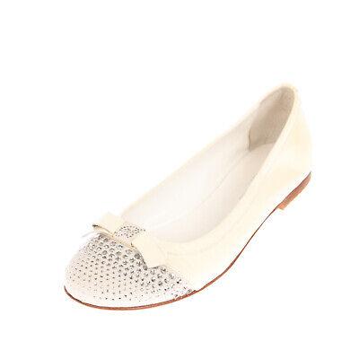 RRP €180 MISS BLUMARINE Leather Ballerina Shoes EU 38 UK 5.5 US 6.5 Rhinestones