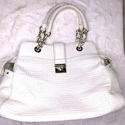 GIANNI VERSACE COUTURE  Leather Quilted Bag Purse Italy White Gold Hardware Read
