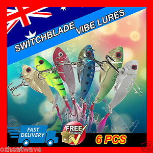 Fishing Lures Lure 6pc Switchblade Blade VIBE Metal 55mm 11g Bream Bass Flathead