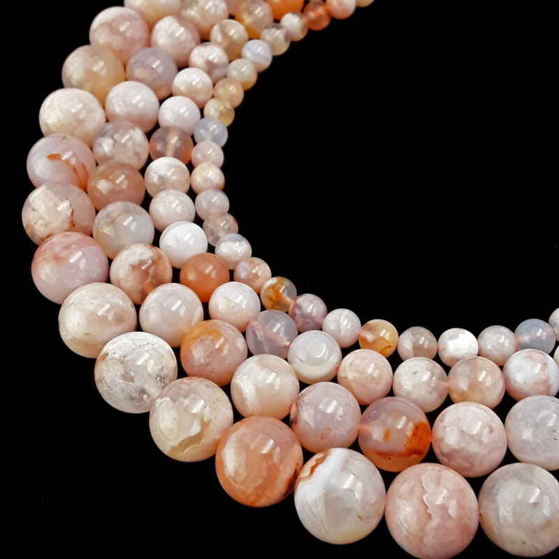 "Cherry Flower Sakura Agate Smooth Round Beads 6mm 8mm 10mm 12mm 15.5"" Strand"