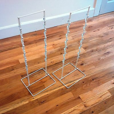 2 - Double Round Strip Potato Chip Candy Clip Counter Display Racks In White