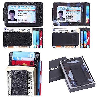 Black Money Clip - Front Pocket Wallet Money Clip Leather RFID Blocking ID Credit Card Slim Holder