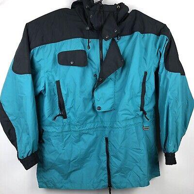 Vtg Profile Ski Jacket Mens Size L Black Green  Snowboard Half Zip Nylon Hooded