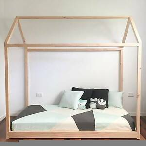 Scandinavian Style Cubby House Bed Frame (Wooden) and Mattress Brisbane City Brisbane North West Preview