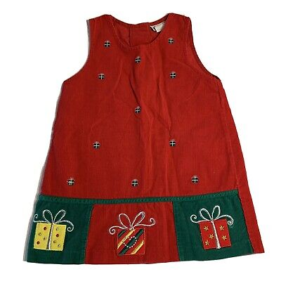 Rare Too! Girls Red Corduroy Jumper Dress 4 Embroidered Gifts Christmas Holiday