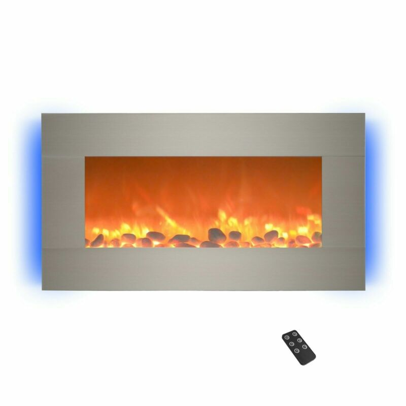 Electric Fireplace Wall Mounted Adjustable Heat Remote 30 Inch Silver W Timer