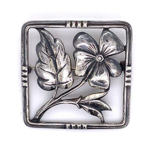 VTG Estate Felch Co Danecraft Sterling silver Flower Square Brooch Pin! 60