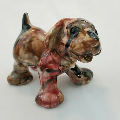 "Ceramic Puppy Dog Mottled Marble Drip Glaze 4.75"""