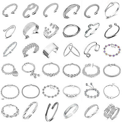 Elegant 925 Silver Cuff Bracelet Bangle Chain Wristband Women Fashion Jewelry