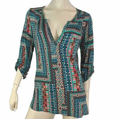Anthropologie Top Women Size Small Pullover T Shirt V Neck Roll Tab Sleeve