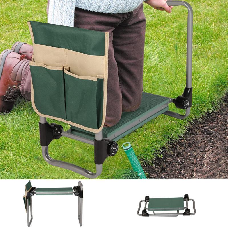 Portable Garden Kneeler Outdoor Bench Seat Soft EVA Kneeling Pad w/ Stool Pouch