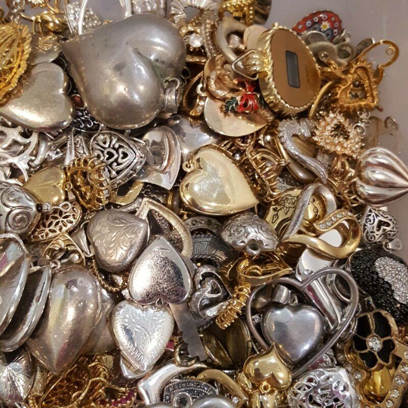 ESTATE VINTAGE~NOW HEARTS VALENTINE JEWELRY LOT PENDANTS EARRINGS RINGS+ 10 Pcs