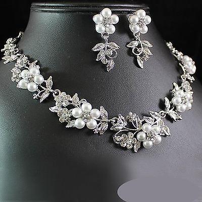 Halskette Perlen Schmuckset Ohrringe HOCHZEIT Braut Strass silber Blume Blätter