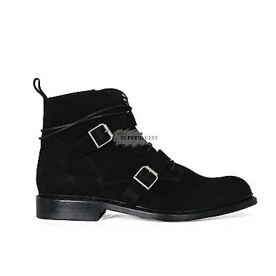 BALMAIN ZIPPED BLACK SUEDE BELTED BOOTS FREE SHIPPING