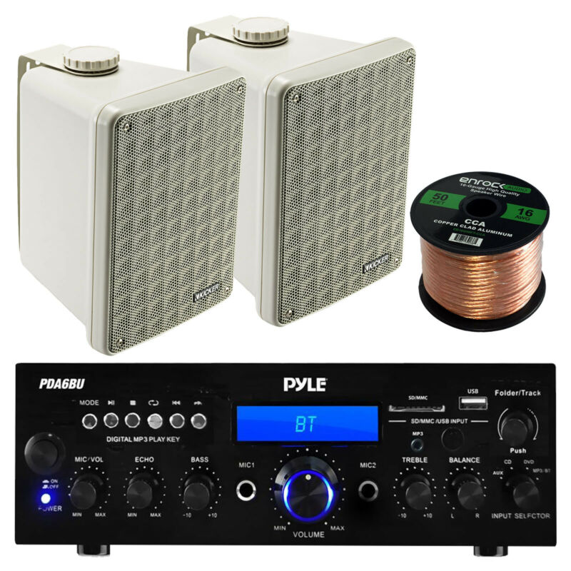 "PDA6BU FM USB Bluetooth Receiver, Gray Kicker 6.5"" Outdoor Box Speakers, Wiring"