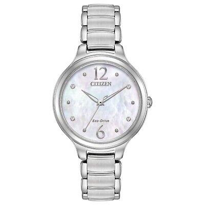 Citizen Eco-Drive L Women's EM0550-59D Crystal MOP Dial Silver-Tone 32mm Watch