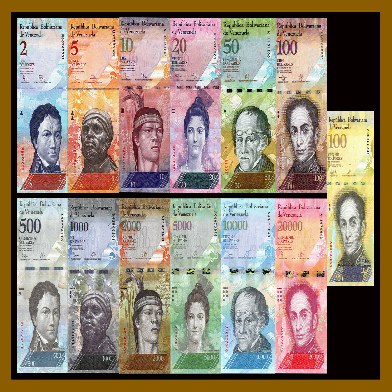Venezuela 2 - 100000 (100,000) Bolivares (13 Pieces Pcs Full Set), 2007-2017 Unc