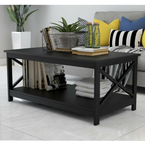 Coffee Table With Storage Shelf Rectangular Black Living Room Home Office Modern