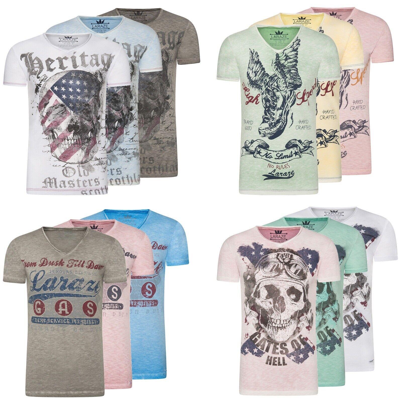 Larazé Herren T-Shirt Kurzarm Shirt Aufdruck Print Mit V-Ausschnitt S-XXL