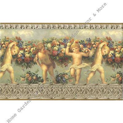 Victorian Architectural Antique Molding Angels Cherubs Wallpaper Border RARE