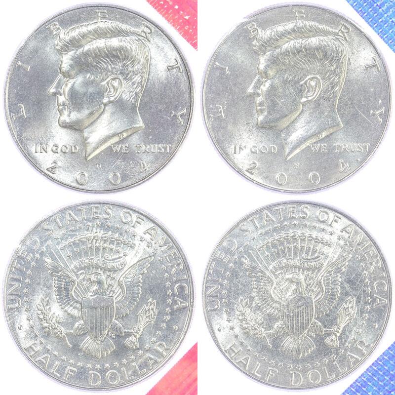2004 P D Kennedy Half Dollars Bu Us Mint Cello 2 Coin Set