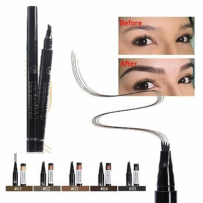 Microblading Tattoo Eyebrow Ink Pen 3D Fork Waterproof Pencil Brow 5 Colors Eyebrow Liner & Definition