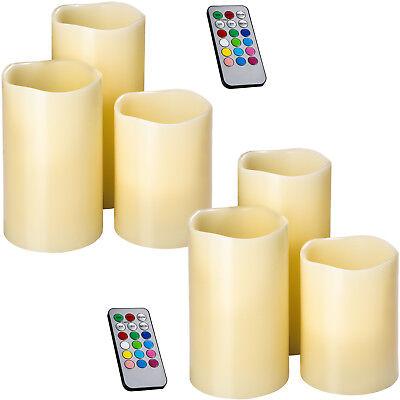 2x Set di 3 candele a LED in vera cera con telecomando senza fiamma candela nuov