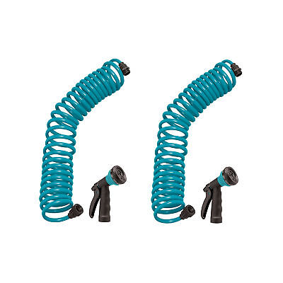 Orbit 25' Teal Coil Garden Hose with ABS Threads and 8 Patte